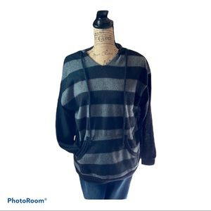 White birch black/gray stripe long sleeve sweater